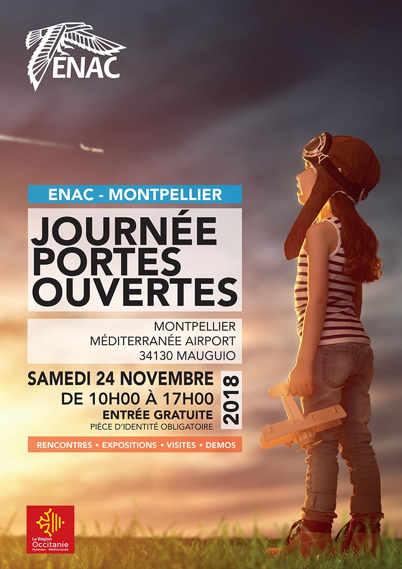 Affiche JPO Montpellier avec enfant et avion dans la main