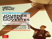 Affiche JPO Castelnaudary Adolescent qui touche un hélice d'avion
